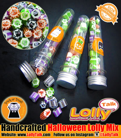 Halloween lollies in test tubes